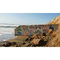 mar sem barreiras wall beach art ocean sand waves sunny day bike ride