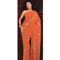 Rust Lazer Saree with Blouse