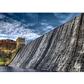'Over the Top': Water cascading over the top of the Derwent Reservoir in the Derbyshire Peak Dist...