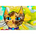 stained glass cat window glass