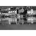 harbour stornoway boats water sea reflection blackwhite scotland building