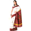 Off White Viscose Saree with Blouse