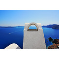 santorini view chimney powerboat landscape seascape archer