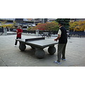 At 6:01pm.Omer trying a little bit of Table Tennis/Ping Pong-At Mel Lastman Square-North York/Tor...