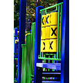 game blue yellow green city NY park playtime play fun lines pattern