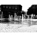 fountains water black white bw