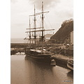 sailing ship sepia