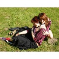 two girls hug summer shining sun green skirt punk