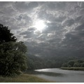 river landscape water tree clouds sun