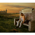 bench chateau landscape portrait cat sunset photomontage sky me