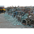 Whitby harbour lobster pots rope jetty