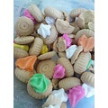 colours biscuit pink green yellow orange white icing flower