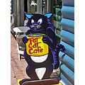cartoon cat cafe restaurant sidewalksignfph sign telegraphavenuefph