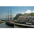 Cornwall Charlestown Harbour UK Ship Boat Moored Sea Coast