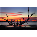 art sculpture sun sunset red contrast sea clouds suncraft viking ship