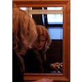 my most serious look....made by Kaska, reflected in the mirror.  I try here whether the warm wa...