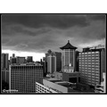 bw singapore buildings clouds