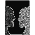abstract black white tribute africa darfur childern faces shapes