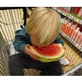 boy supermarkettrolley watermelon