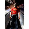 london underground tube stairs esculator mask man