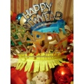 colors new year happy balls decorations bear