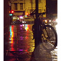 london brixton night rain bicycle reflection light