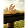 my hand and the filthy train window