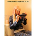 sasparella girl model blonde gasmask respirator toilet bathroom _copyright _commercial