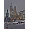 Cracow market in snowy day