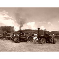traction engines country fair sepia smoke sky
