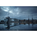 royal victoria dock docklands london suspension bridge dawn reflection
