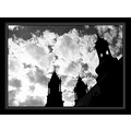 silhouette bw church towers