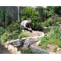 garden pond stone wall building