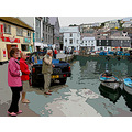 8316 Manipulated Cornwall Quay Mevagissey UK Boat Moored Sea Coast