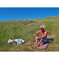 Sun Tan Sandbanks Old Man Blue Sky Skane Skalderviken Sweden 2012 June
