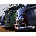 Volkswagen bus van santa pod line up battered rust architecture vw