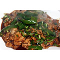 Pork with Green Chillies  青椒肉片. Still steaming from the wok.
