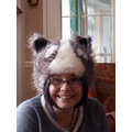 my daughter models her badger hat!