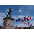 colmar rapp flags statue square general alsace cathedral church
