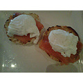 poached eggs with smoke salmon on English muffins