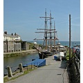 Cornwall Charlestown Harbour Ship Boat Sail Moored Coast Sea UK