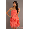 Pink Mini length chiffon Strapless Dress