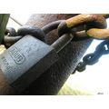 padlock rust chain close up