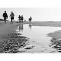 beach sand reflection people bw water light shadow