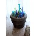 national glass colors vases ancient stone table