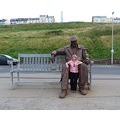 mini me lol. THE GIANT. this is a giant steel sculpture on scarborough sea front. entitled freddi...