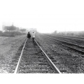 black white friends bw railroad track scan