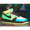 Photoshop of sneaker. Silkscreen image.