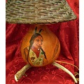 horn deer handpainted Gourd SittingBull Lamp woodburned