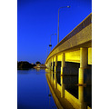 bridge sunrise yellow blue sky